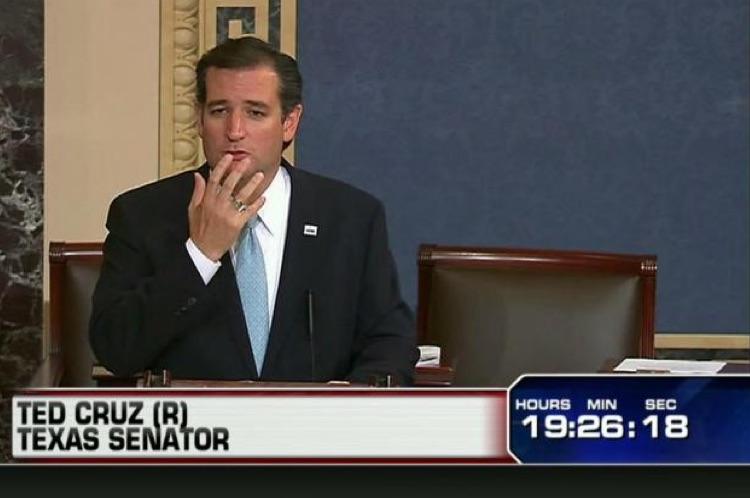 Senate, 2013: Sen. Cruz filibusters funding of ObamaCare. (Photo Credit: Fox News)