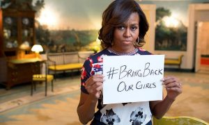 Michelle Obama  uses Twitter to get back the kidnapped girls.