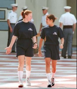 Female cadets in PT uniform.