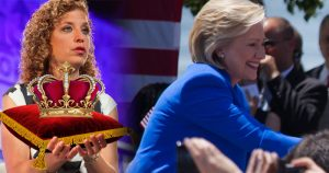 Debbie Wasserman Schultz crowns Queen Hillary as imagined by the Huffington Post.