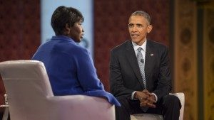Journalist Gwen Ifill and President Barack Obama on the PBS NewsHour