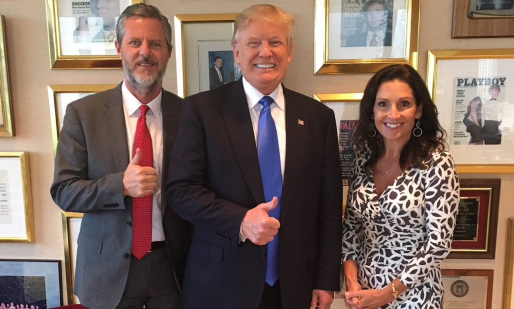 Jerry Falwell, Jr. is PhotoBombed in Trump Office by Playboy Mag [VIDEO]