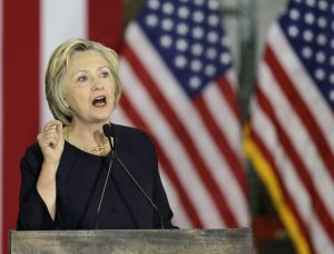 Democratic presidential candidate Hillary Clinton speaks at the Cleveland Industrial Innovation Center, Monday, June 13, 2016, in Cleveland. (AP Photo/Tony Dejak)