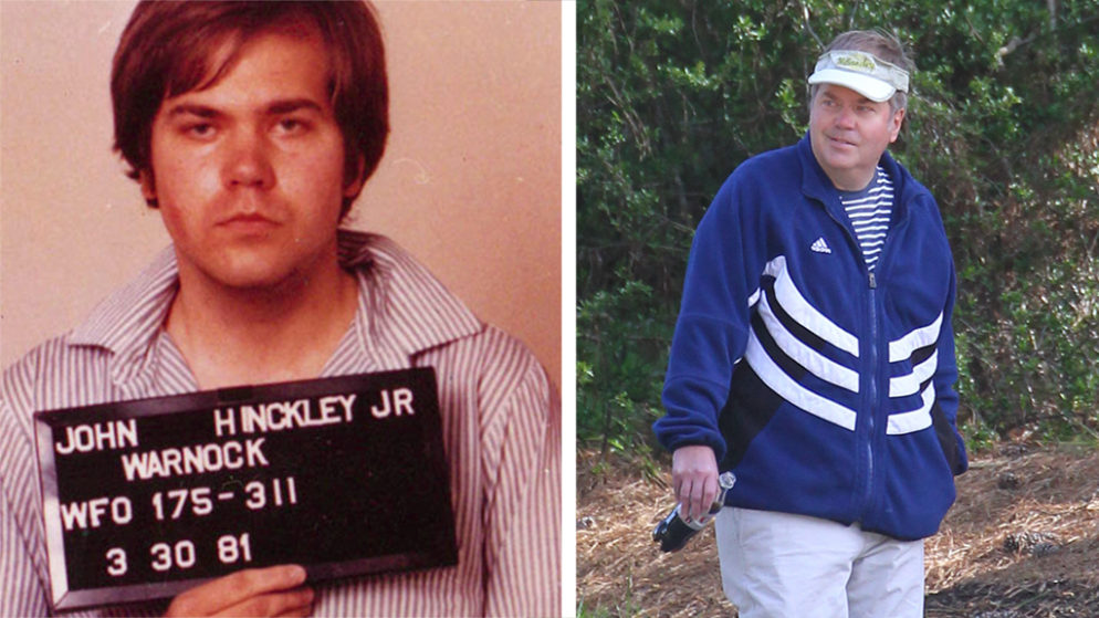 John Hinckley Jr., then and now (mugshot courtesy of the FBI, current photo by Jae Donnelly for DailyMail.com)