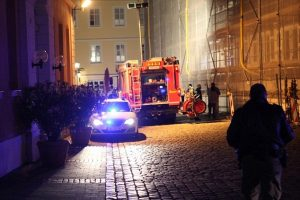 First responders arrive on site in Ansbach