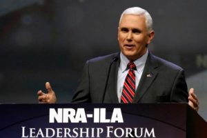 Indiana Governor Mike Pence addresses members of the National Rifle Association during their NRA-ILA Leadership Forum at their annual meeting in Louisville, Kentucky, May 20, 2016. REUTERS/John Sommers II