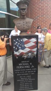 The bust of Sgt. Michael Ferschke, Jr. at Blount County Library