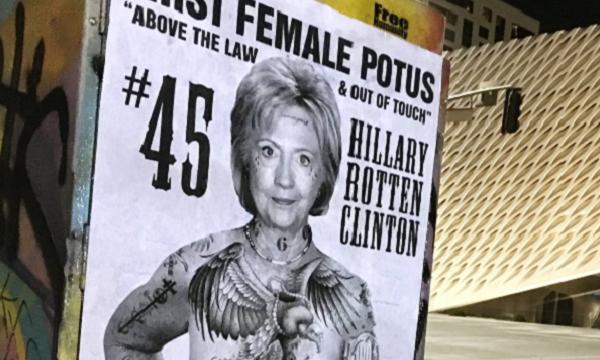 Street Artist Sabo's Tattooed Hillary Posters hit LA!
