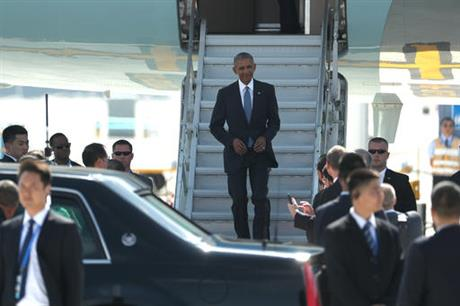 Obama arrives on Air Force One on Saturday, Sept. 3, 2016, in Hangzhou, China. (photo: AP/Mark Shiefelbein)