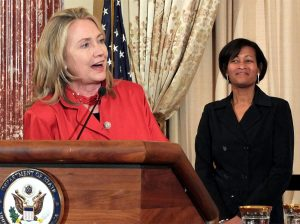 """Hillary Clinton with her """"attorney"""" Cheryl Mills"""
