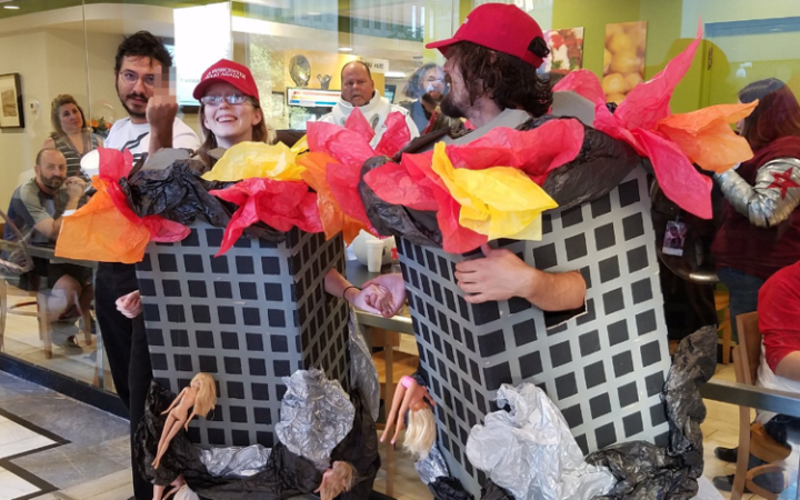 Abominable: Two Cosplay Cretins Dress Up as Burning Twin Towers with Jumpers. [VIDEO]
