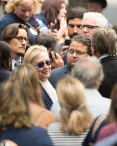 US Democratic presidential candidate Hillary Clinton arrives for the 15th Anniversary of September 11 at the 9/11 Memorial and Museum, on September 11, 2016 in New York. The United States on Sunday commemorated the 15th anniversary of the 9/11 attacks. / AFP PHOTO / Bryan R. SmithBRYAN R. SMITH/AFP/Getty Images