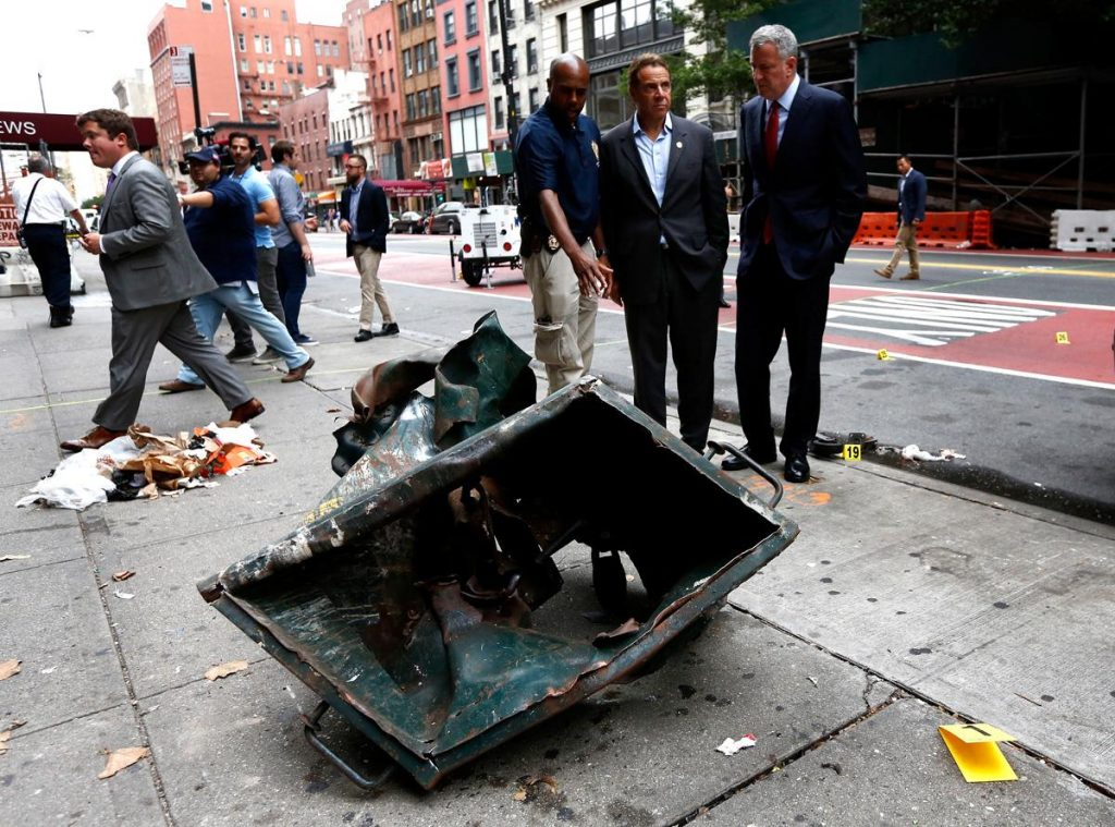 Mayor de Blasio and Governor Cuomo survey the area on Sunday morning (photo: Justin Lane/pool/EPA)
