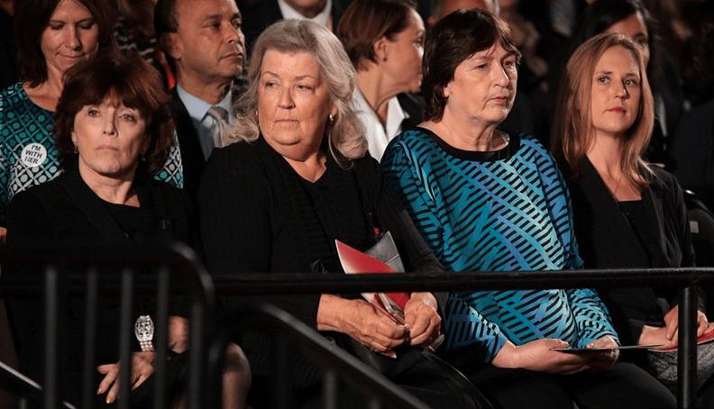 Kathleen Willey, Juanita Broaddrick, and Kathy Shelton sit near Bill Clinton in Sunday night's debate. (Photo Credit: WebDaily)