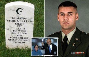 Captain Humayan Khan, his Gold Star Parents, and his grave marker at Arlington Cemetary