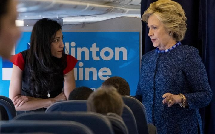 Hillary Clinton and Huma Abedin after Comey's announcement on Friday; reports said Huma was crying (photo: AP)