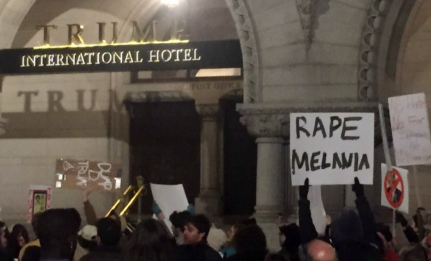 The Love Trumps Hate Crowd calling for sexual violence against future First Lady, Melania Trump. (Photo Credit: PJ Media)