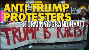 Protesters at the Grand Hyatt by Grand Central Station, NYD