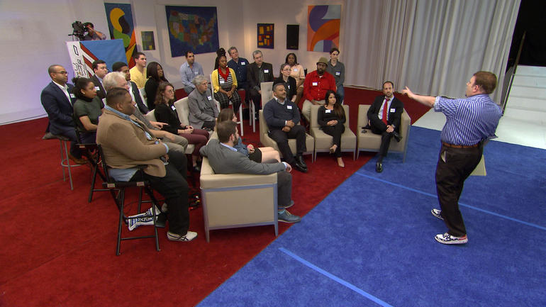 Frank Luntz and his focus group (photo: CBS News)