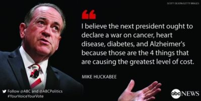 Huckabee the medical expert? Cure all the diseases?