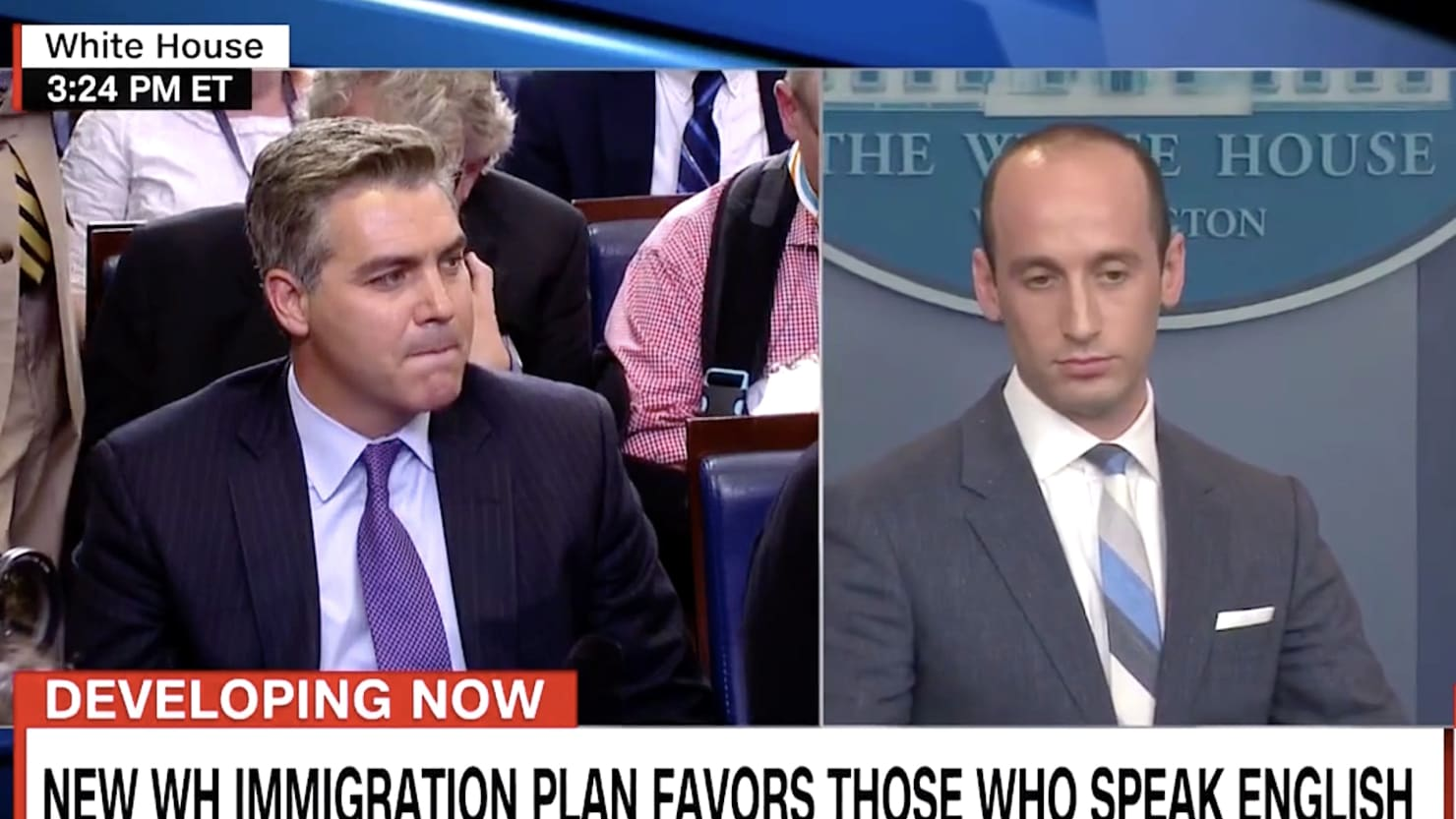 """Cosmopolitan"" Jim Acosta Clashes With Stephen Miller Over Statue Of Liberty At WH Briefing [VIDEO]"