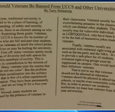 Social Justice Newsletter Says Veterans Should Be Banned From Four-Year Universities