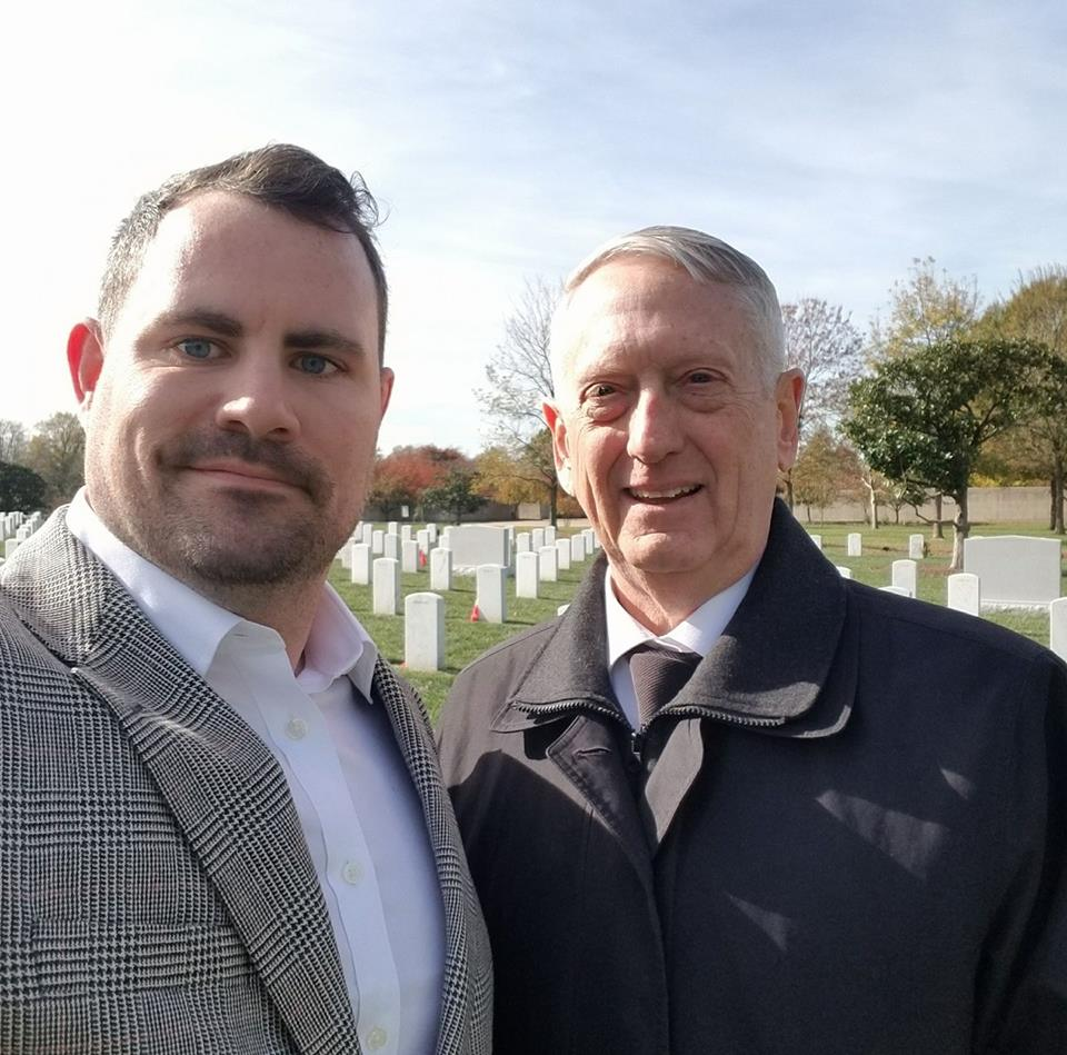 Army Sergeant Meets SecDef General Mattis on Veterans Day