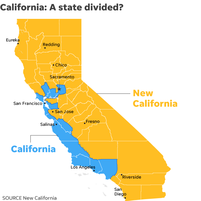 """Fed Up with Ultra-Liberal Policies, The Would-Be Founders of """"New California"""" Aim to Split the Golden State in Two"""