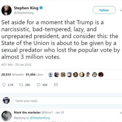 Author Stephen King Hates On Donald Trump