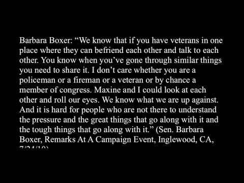 """Barbara """"Call Me Senator"""" Boxer: Being in Congress is just like serving in the military"""
