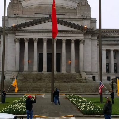 Washington State Governor Jay Inslee Flies Communist China's Flag At State Capitol