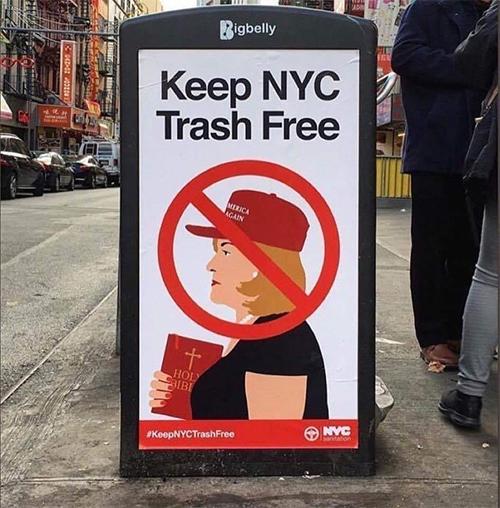 NYC Leftist sign of hate