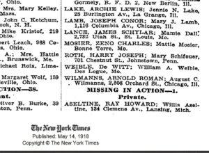 Veterans Day Ray H Aseltine NYTimes May 14 1918