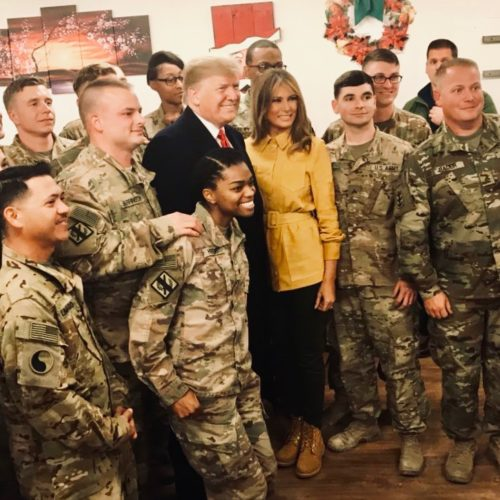 President And Melania Trump Surprise Troops In Iraq For Christmas