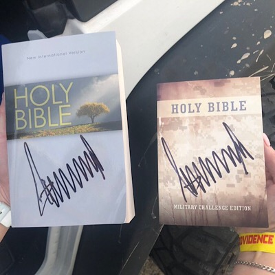 Trump autographs Bibles; Libs sad no lightning bolts