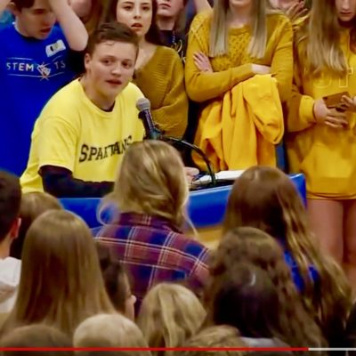 STEM Students Protest Gun Control Narrative At Highlands Ranch HS Vigil