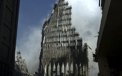 The skeleton of the World Trade Center on September 11.