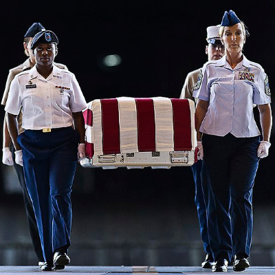 We say the Pledge of Allegiance because of the flag draped coffin.