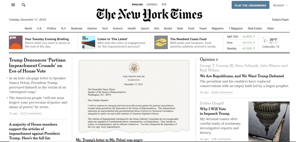 NYT home page Trump history