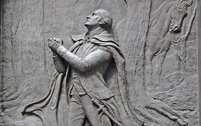 Take a knee - Washington kneeling in prayer