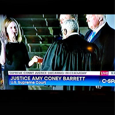Clarence Thomas Swears in Amy Coney Barrett To SCOTUS