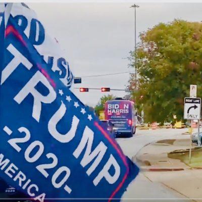 Biden Bus Runs Away From Trump Supporters